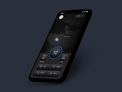 Car Remote Start Mobile Application xd design design slick landing page webdesign application ui ux creative mobile app dark ui uiux