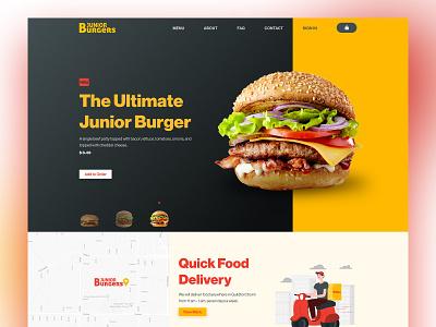Junior Burgers Landing Page Exploration landing page minimal modern ui ux web website flat clean design