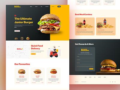 Junior Burgers Landing Page Design   Jismon Thoams adobe website creative clean food ui design landing page web design