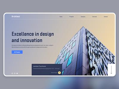 Architect Landing Page header website homescreen gradient clean web design ux ui landing page design
