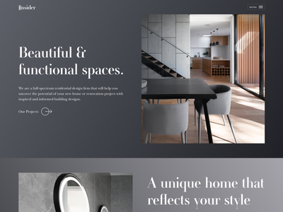 Architect Landing Page dark header website homescreen gradient clean web design ux ui landing page design