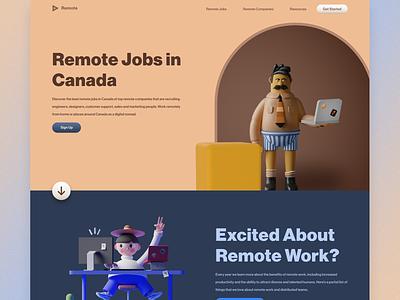 Remote Work Landing Page Concept gradient ux website ui character 3d illustration header web design landing page design