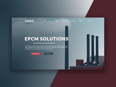 Engineering Service Homescreen header landing page homescreen industrial engineering uixdesign ux ui webdeisgn