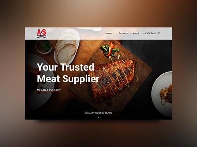 Meat supplier Landing Page Design website steak design homescreen header uiux design ux ui landing page web design food meat beef