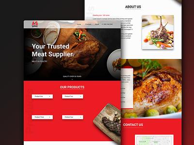 Meat Supplier Website design landing page design wordpress design ui design uxdesign meat black red interface food web design