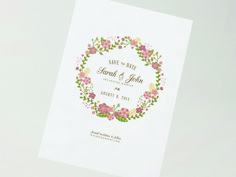 Save the Date wedding save the date floral illustration save the date