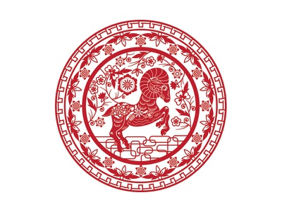 Year of the Ram lunar new year ram vector floral