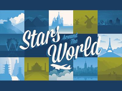 WIP Stars Around the World email header illustration vector travel world