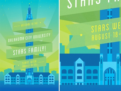 Stars Week postcard illustration vector building city university