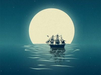 Starcatcher pan peter night ocean ship moon vector play theatre theater starcatcher