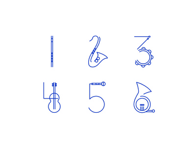 Musical Numerals sound digits numerals numbers vector instruments music