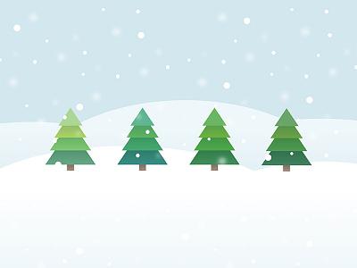 Snowy Trees trees winter holiday christmas snow illustration