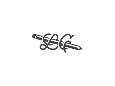 LC personal lettering pencil logo graphic