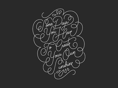 Sunshine hand lettering script day sunshine lettering quote
