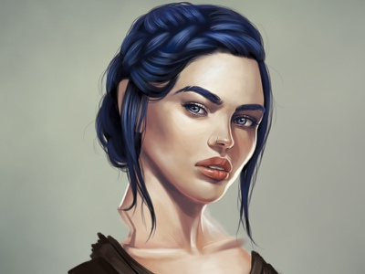 Vylaena WIP character blue photoshop drawing portrait woman digital painting wip