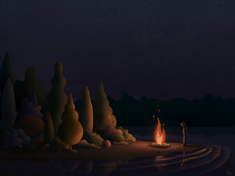 solitary campfire by Patricio DeLara on Dribbble