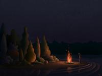 solitary campfire