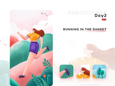 Miss running in the sunset illustration