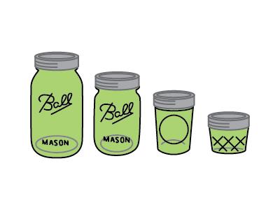 Various Mason Jar sizes