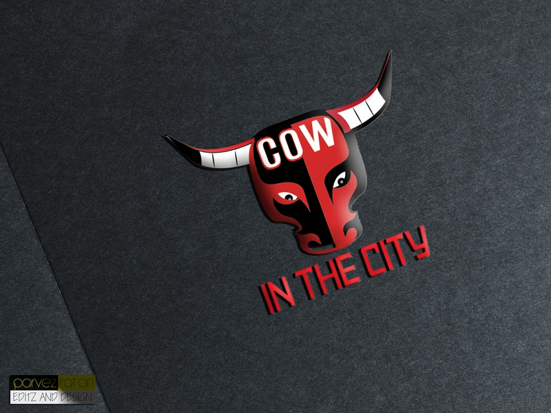 "Cow in the City"" Another Logo Design_Parvez Raton web app design co-motion logos color bars red awesome eye catching red bull city logo cow ux icon typography vector logo illustration branding illustrator"