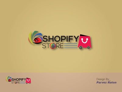 Shopify Store Logo Design_Parvez Raton shopify store website illustrator illustration ux icon color bars pink flat 3d parvezraton online shop ecommerce branding logo vector design awesome design