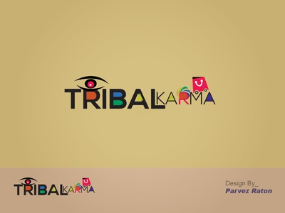 Tribal Karma Logo Design Parvez Raton type typography clean shopping logo eye logo logo alphabet logo 3d logo a day economical logo e commerce e logo illustrator flat branding icon design vector logo illustration awesome design