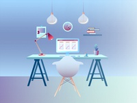 Working place illustration