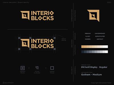Interio Blocks   Logo design contemporary premium blocks studio brand design square geometry interior creative logo logo design branding brand identity design logo