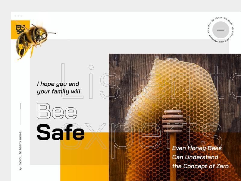 Listen to the experts   BEE SAFE virus modern webdesign header interface family health concept of zero listen to experts design ui fresh honey bee stay safe