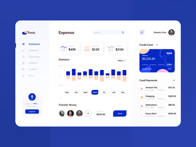 Track. Expense DashBoard minimal statistics barchart white clean uiux payment ecommerce money blue dashboard business investment income creditcard card transaction expense expense manager expense tracker