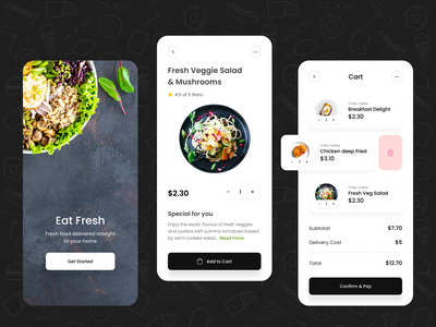 Food Delivery App black white appetite food app iphone clean ui minimal delivery android app delivery service food order restaurant app chef app food delivery app eat salad food delivery app uiux