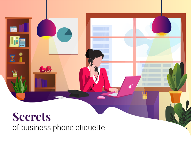 Business Phone Etiquette office hours phone ethical business lady ethics telephone office rapidgems illustration character illustration