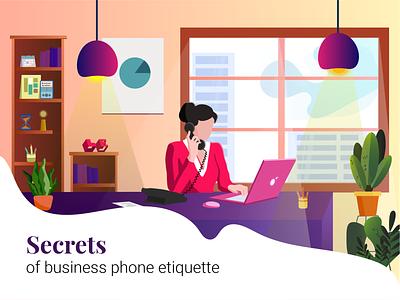 Business Phone Etiquette office hours phone ethical business lady ethics telephone office rapidgems illustration character illustration