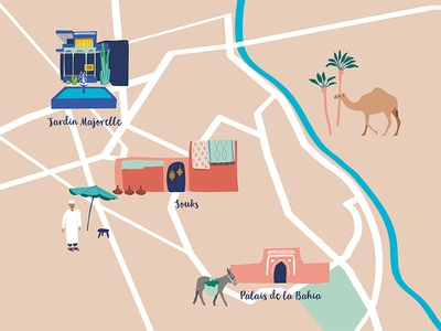 A map of Marrakech is in progress. donkey camel arabian djemaaelfna medina africa jardinmajorelle palaisdelabahia souks morocco marrakech illustration