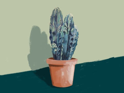 Blue Candle Cactus structure organic photorealistic green shades mixed media painting illustration cactus