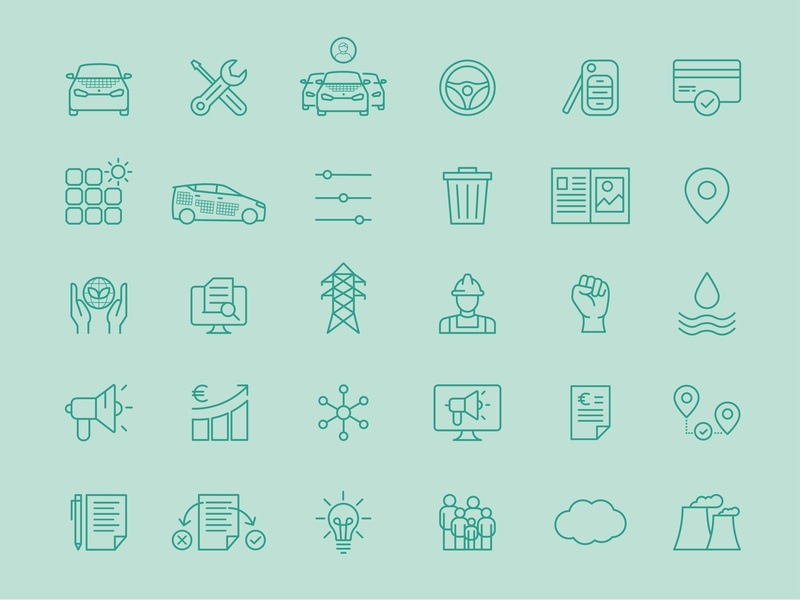 Icon Set for Sono Motors icondesign electriccar electricvehicle car automotive grid iconset icon-set
