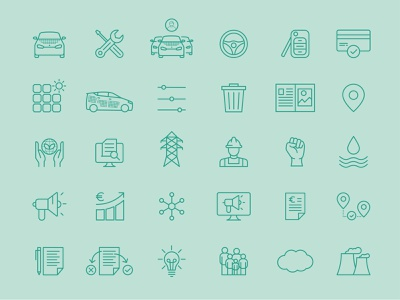 Icon Set for Sono Motors icondesign electriccar electricvehicle car automotive grid iconset icon-set
