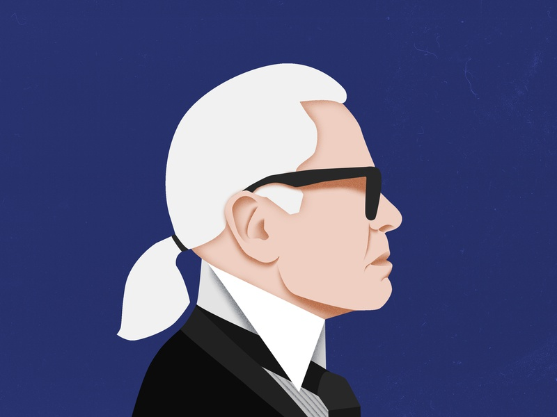 Karl Lagerfeld profile illustration portrait chanel karllagerfeld