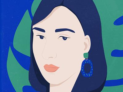 Juliane flat illustrator plant monstera earring woman portrait illustration