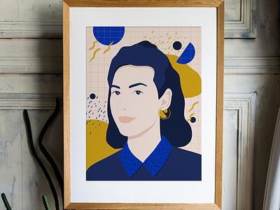 Blue Portrait N•4 flat woman pattern 80s cobaltblue portrait illustration
