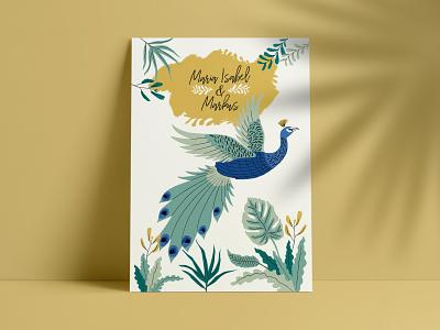 Wedding Invitation invitation card wedding green tropical structure handmade illustration plants peacock