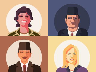 Portraits of entrepreneurs and politicians figuredrawing vector sketch design illustration