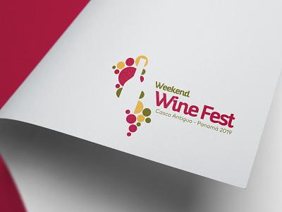 Identificador Weekend Wine Fest Panamá 2019 vino wine fest festival typography design icon logotipo branding