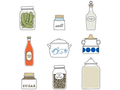 Cookbook Illustrations swedish scandinavian smorgasbord kitchen food icons pantry cooking illustration cookbook
