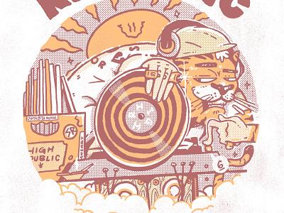 High Republic X Gavilan swag hype cat dj set dj flyer vinil character poster dj music tiger lowbrow illustration artwork