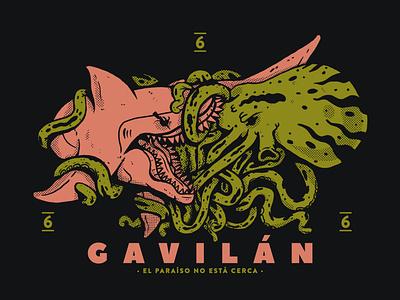Cazador Y Presa 2 Gvln fight nature octopus shark character cartel artwork lowbrow animal illustration