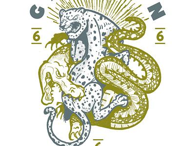 Cazador Presa Gvln crocodile cat tigers jaguar artist art artwork design character cartel illustration lowbrow animal
