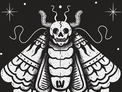 Polilla black dark procreate devil 666 black and white character artwork animal lowbrow illustration