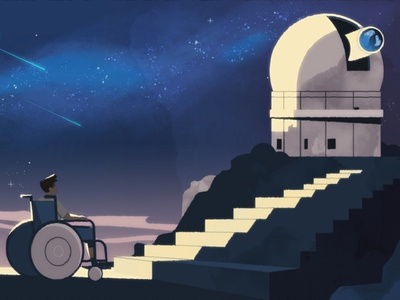 Observatory stairs night stars space character ourshack illustration 2d