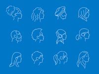 Diversity Portrait Line Art Vector Illustrations